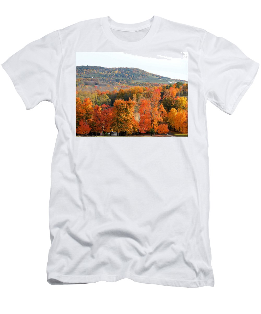 View From Olana Men's T-Shirt (Athletic Fit) featuring the painting View From Olana 4 by Jeelan Clark