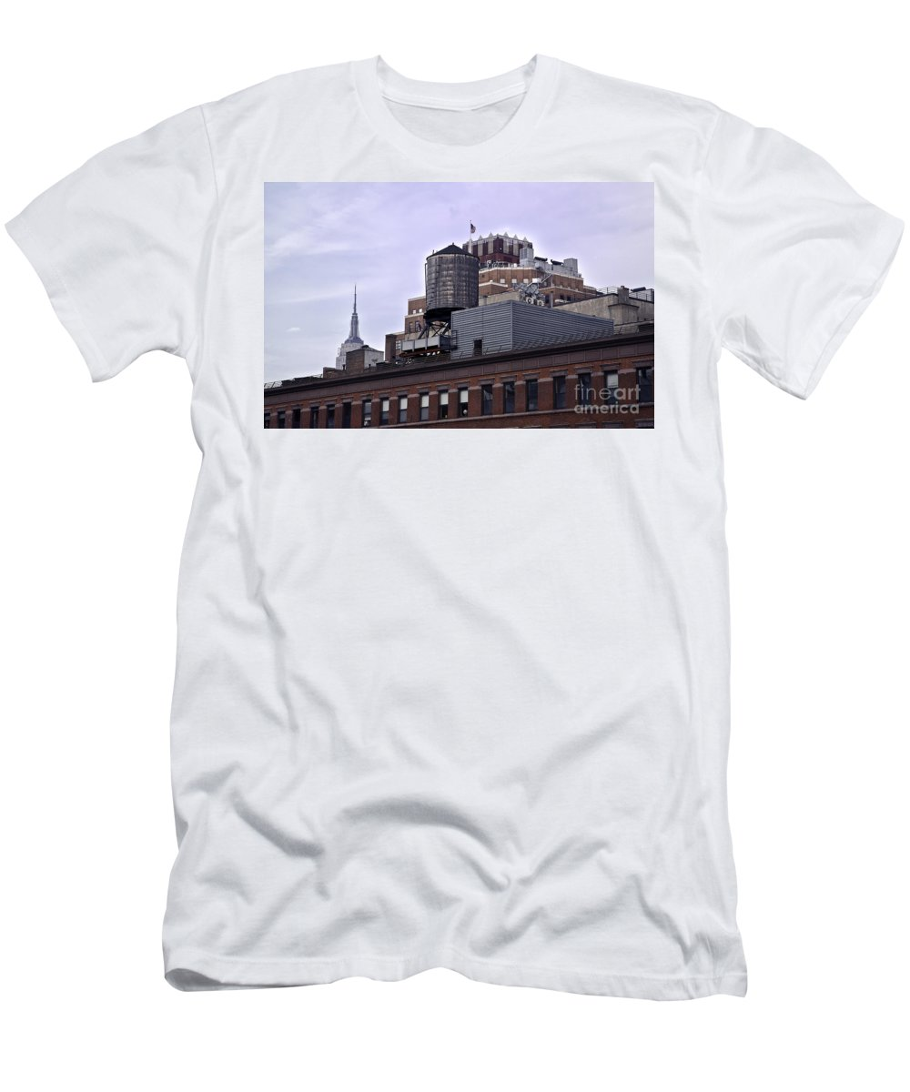 Water Men's T-Shirt (Athletic Fit) featuring the photograph View Of Water Tank From High Line Park by Madeline Ellis