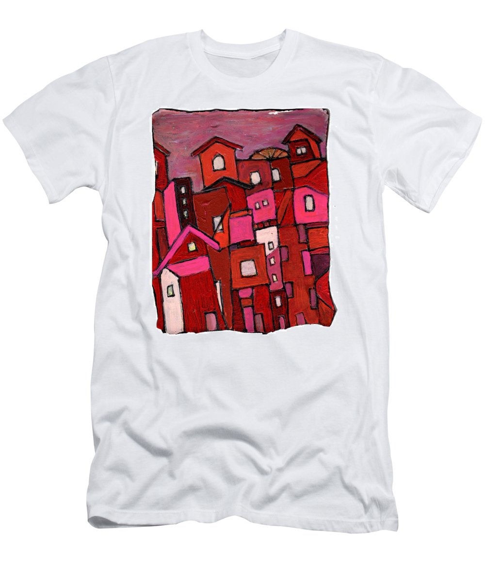 Village Men's T-Shirt (Athletic Fit) featuring the painting Village In Pink by Wayne Potrafka