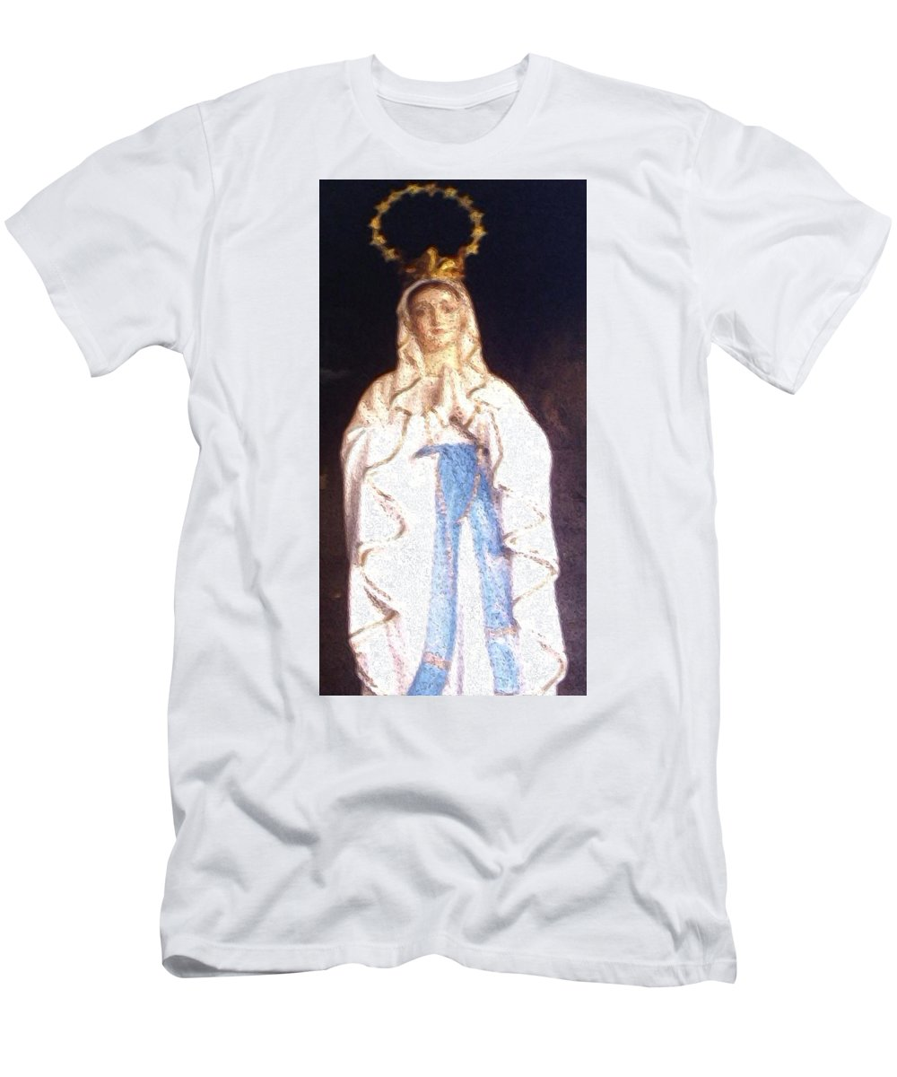 Mary Men's T-Shirt (Athletic Fit) featuring the painting Virgin Mary - Painting by Nisanth Variyath