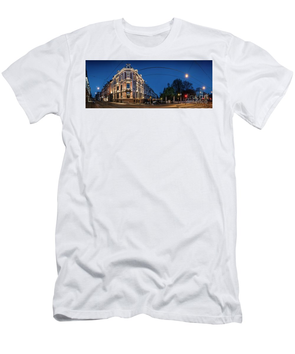 Urban Landscapes Men's T-Shirt (Athletic Fit) featuring the photograph Vossiusstraat by Michael Harris