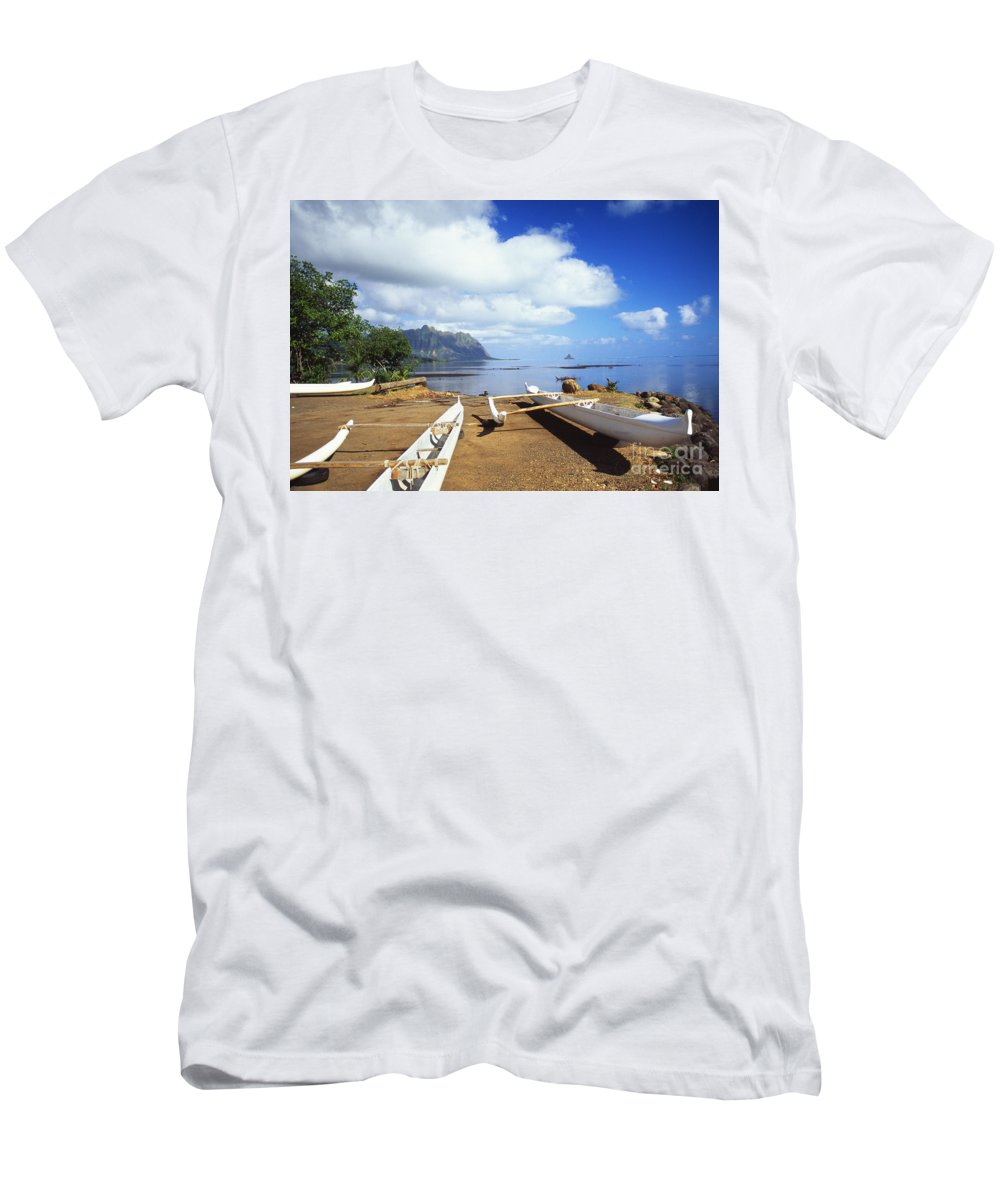 Afternoon Men's T-Shirt (Athletic Fit) featuring the photograph Waiahole, Outrigger Canoe by Bob Abraham - Printscapes