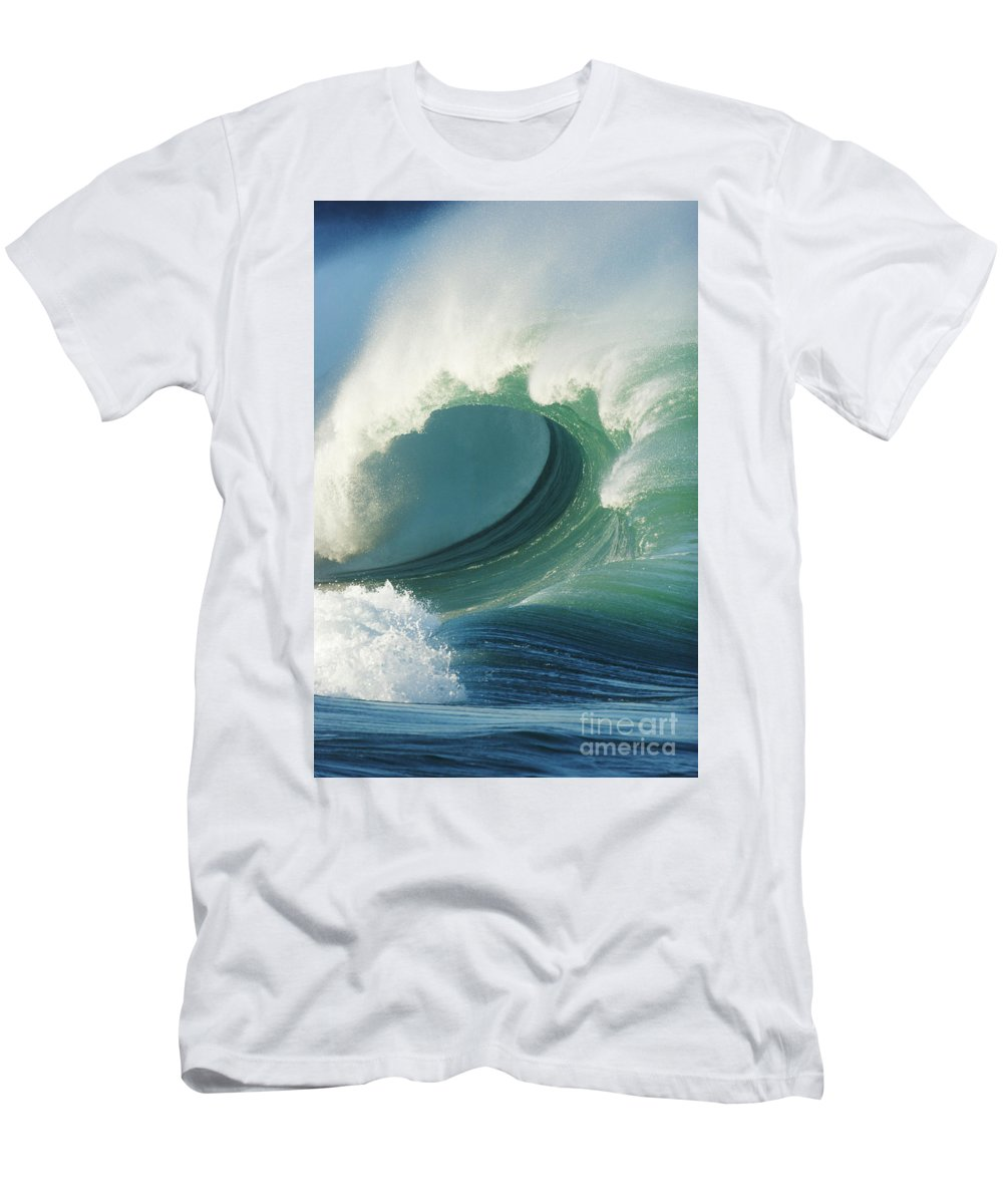 Aqua Men's T-Shirt (Athletic Fit) featuring the photograph Waimea Bay Shorebreak by Vince Cavataio - Printscapes