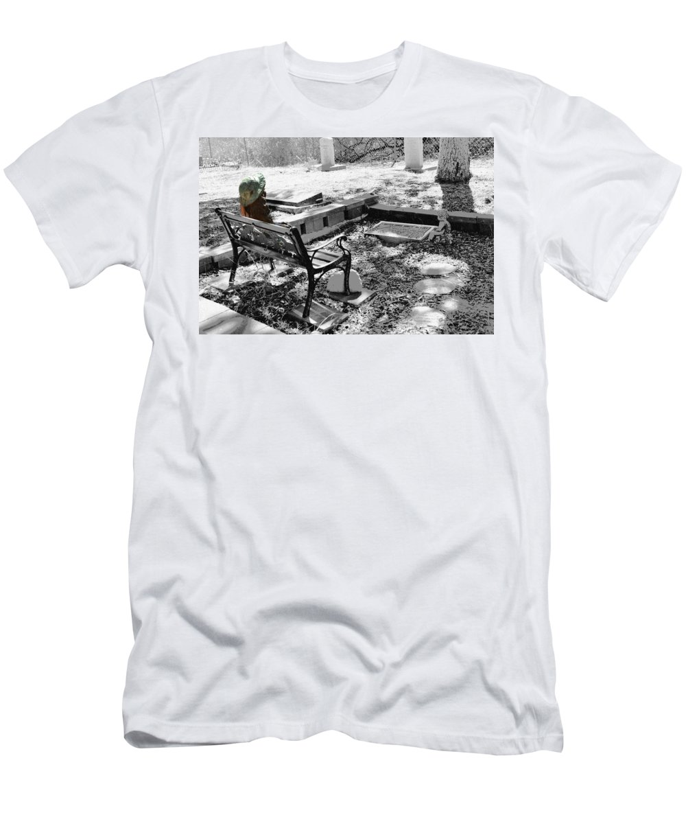 Cemetery Men's T-Shirt (Athletic Fit) featuring the photograph Waiting Again by Michael Brown