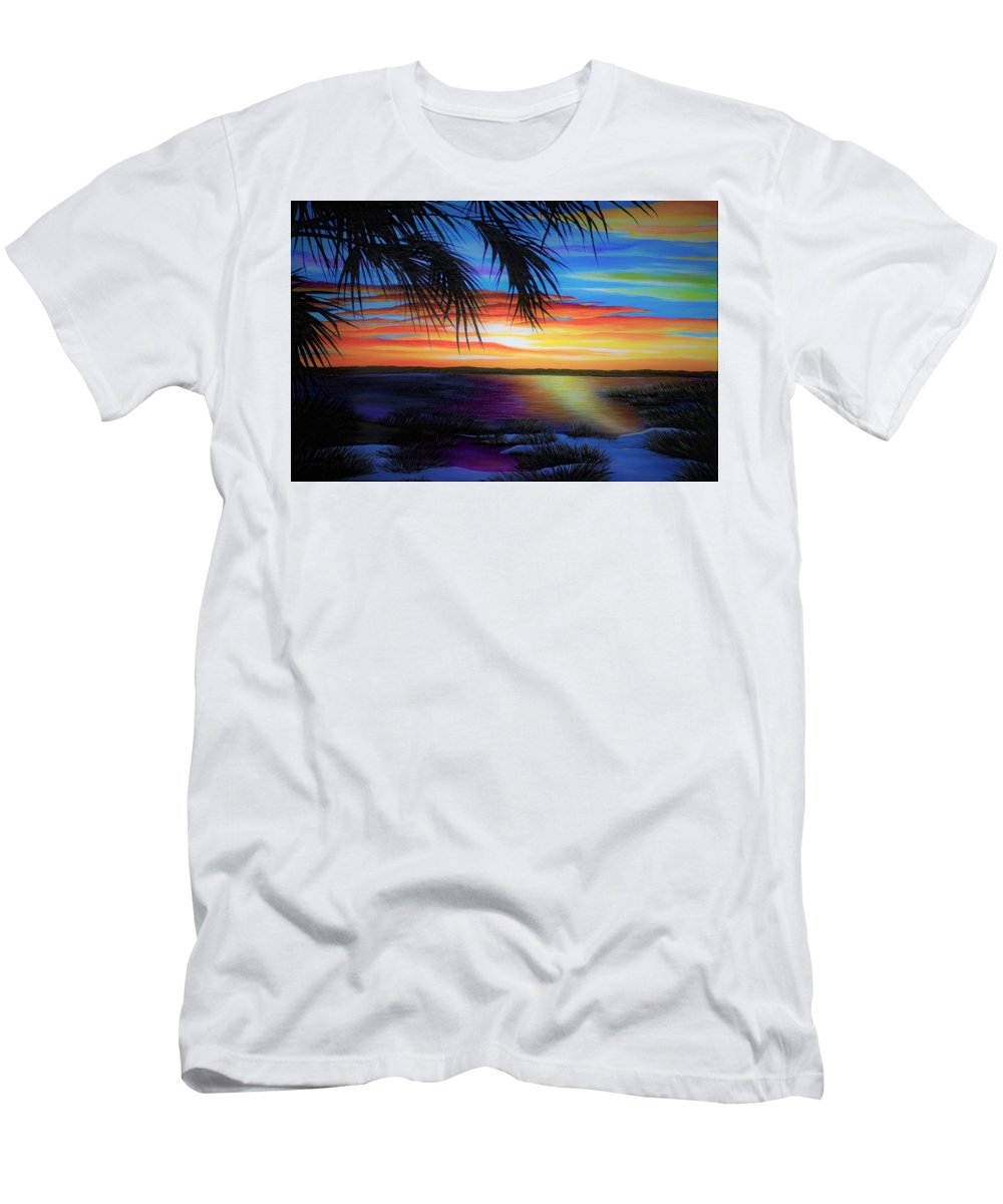 Sunrise Men's T-Shirt (Athletic Fit) featuring the painting Wakulla Beach Morning by Rachel McClure
