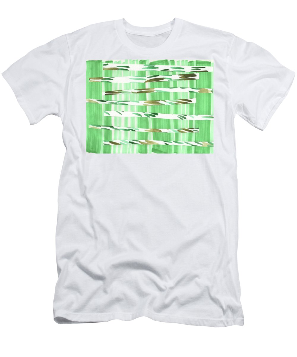 Watercolor Men's T-Shirt (Athletic Fit) featuring the painting Walk In The Grass by Kristy Lankford