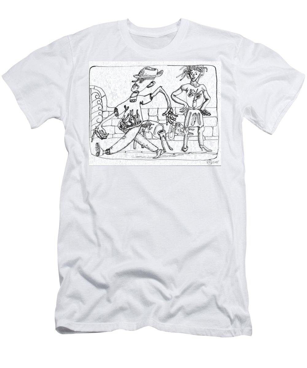 Surreal Men's T-Shirt (Athletic Fit) featuring the drawing Walker by Luca Dedic