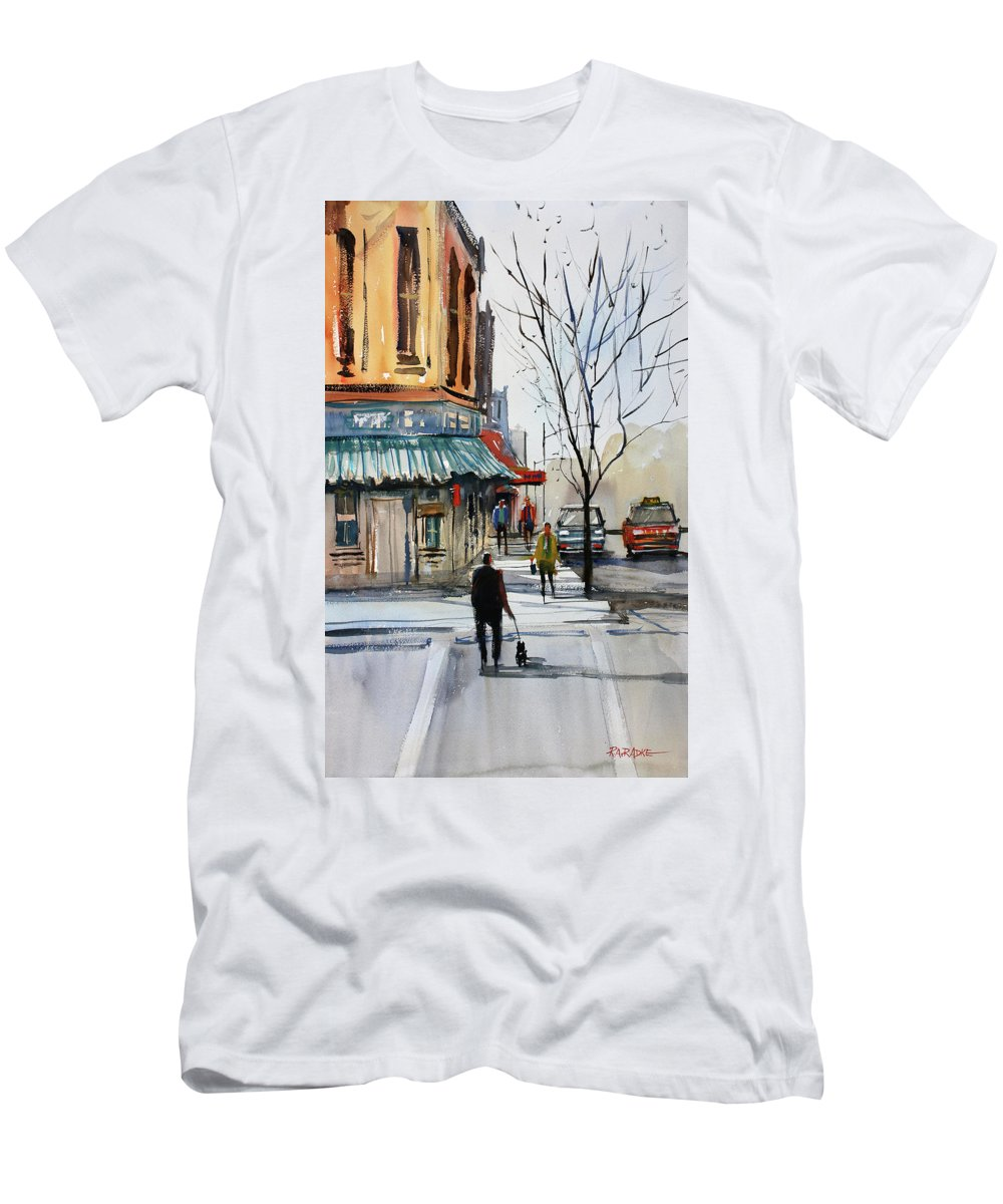 Paintings Men's T-Shirt (Athletic Fit) featuring the painting Walking The Dog by Ryan Radke