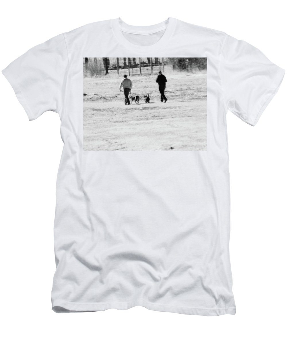 Abstract Men's T-Shirt (Athletic Fit) featuring the photograph Walking The Dogs by Lenore Senior