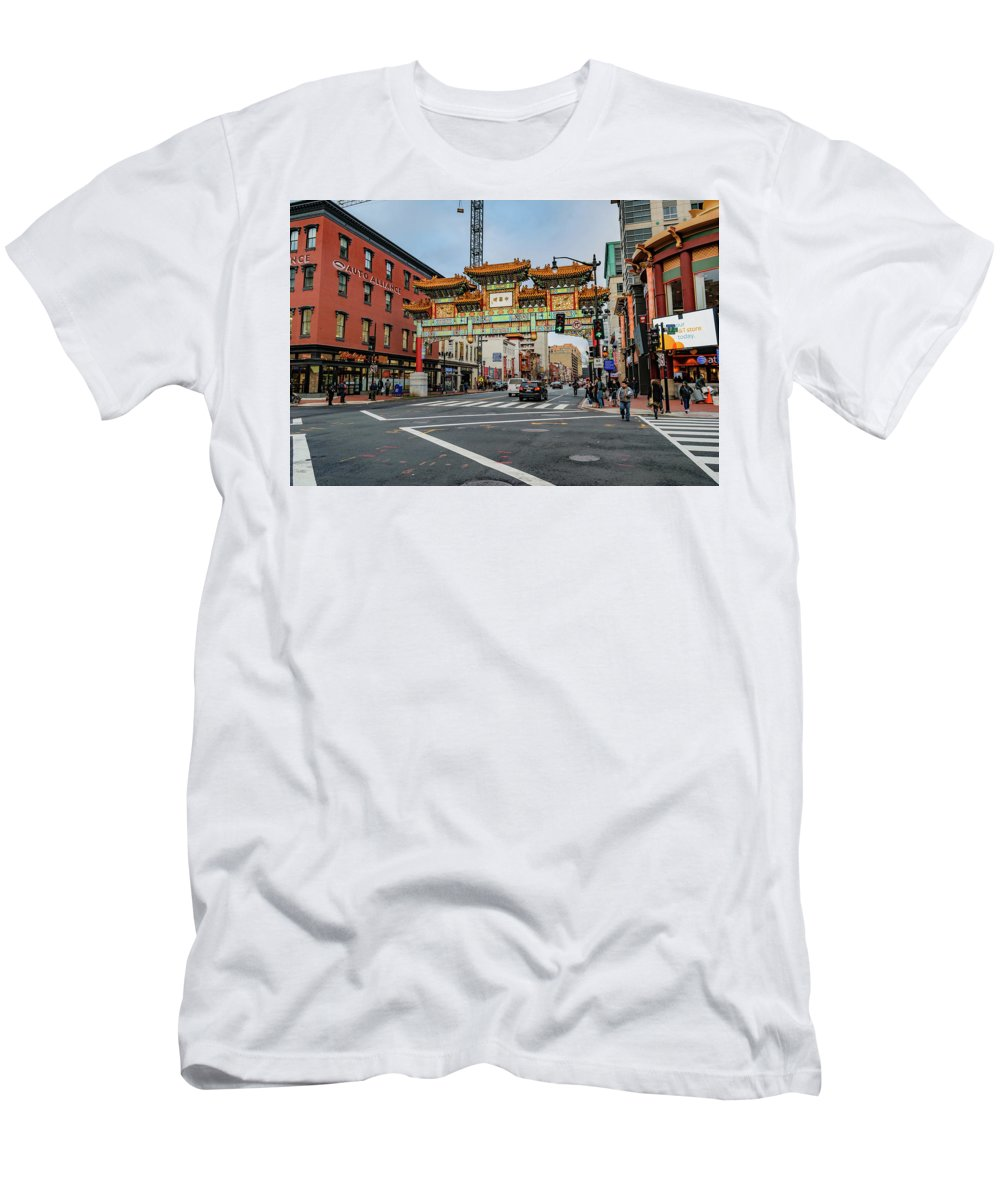 Asian Men's T-Shirt (Athletic Fit) featuring the photograph Washington D.c. Chinatown by Cityscape Photography