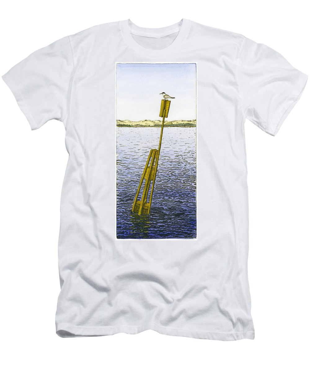 Tern Men's T-Shirt (Athletic Fit) featuring the painting Watching From Number 2 by Charles Harden