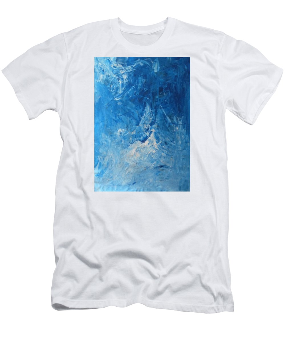 Abstract Art Men's T-Shirt (Athletic Fit) featuring the painting Water Planet Surface by John Dossman