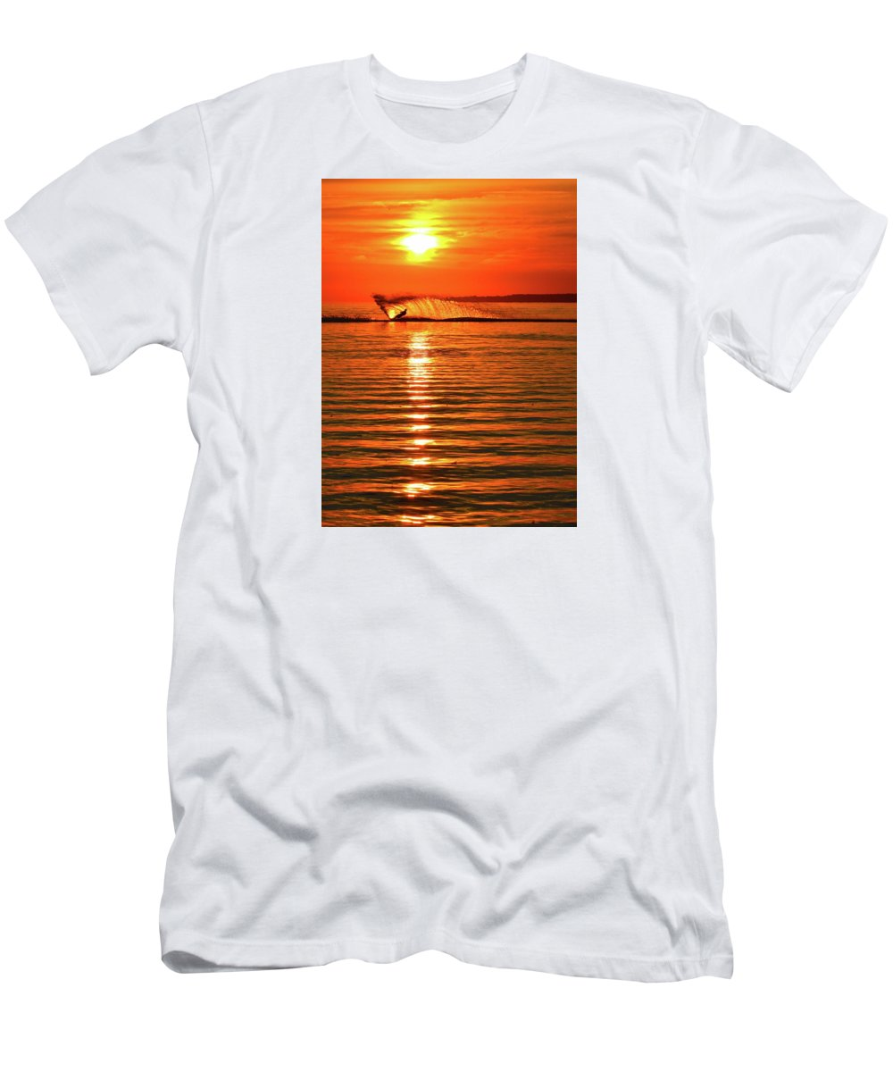 Abstract Men's T-Shirt (Athletic Fit) featuring the photograph Water Skiing At Sunrise by Lyle Crump