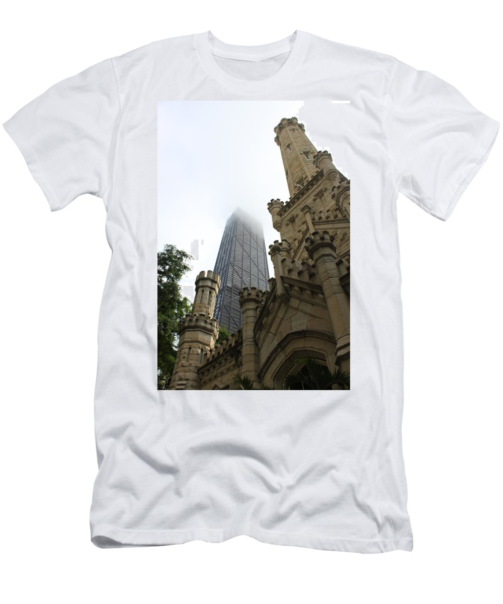 Chicago Men's T-Shirt (Athletic Fit) featuring the photograph Water Tower And Hancock by Lauri Novak