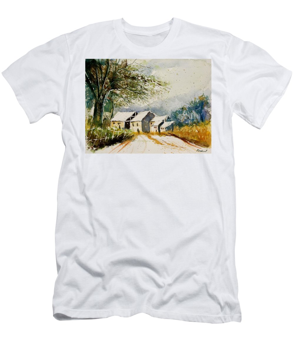 Landscape Men's T-Shirt (Athletic Fit) featuring the painting Watercolor 010708 by Pol Ledent