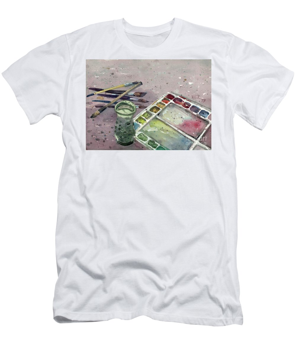 Palette Men's T-Shirt (Athletic Fit) featuring the painting Watercolor by Donald Maier