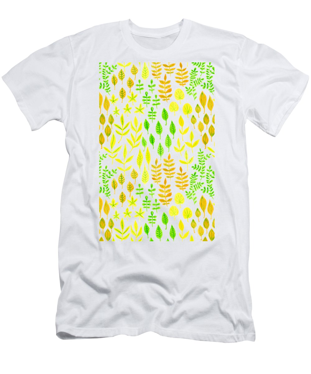 Art Men's T-Shirt (Athletic Fit) featuring the mixed media Watercolor Doodle Leaves Pattern White by Katerina Kirilova