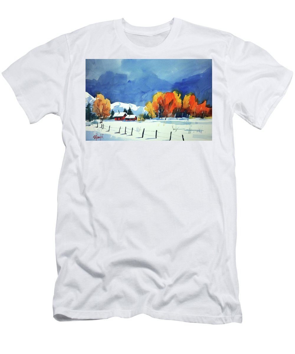 Colorado Landscape Men's T-Shirt (Athletic Fit) featuring the painting Watercolor3860 by Ugljesa Janjic