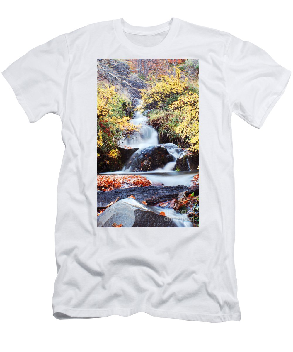 Men's T-Shirt (Athletic Fit) featuring the photograph Waterfall In Autumn by Mircea Costina Photography