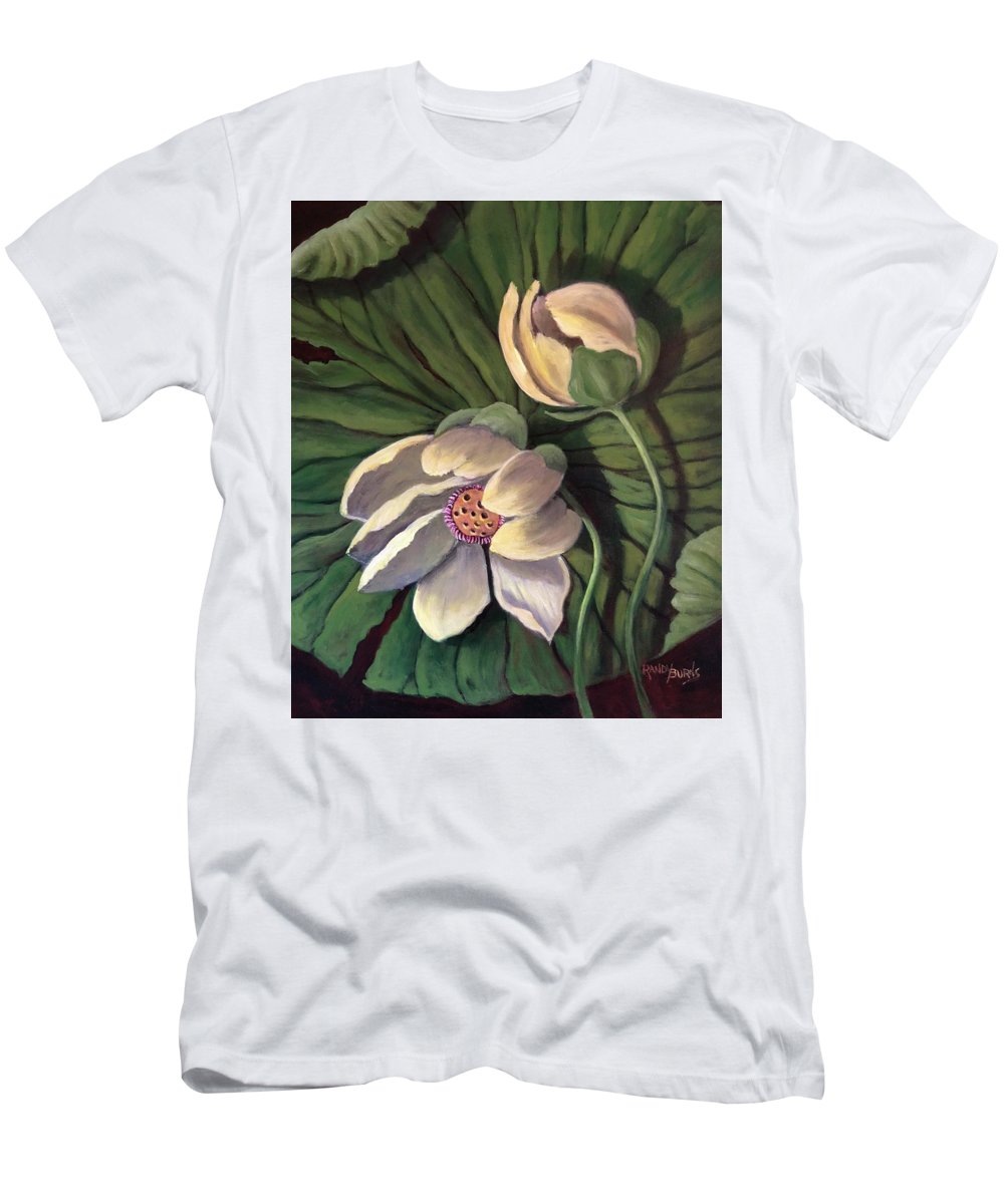 Waterlily Men's T-Shirt (Athletic Fit) featuring the painting Waterlily Like A Clock by Randy Burns