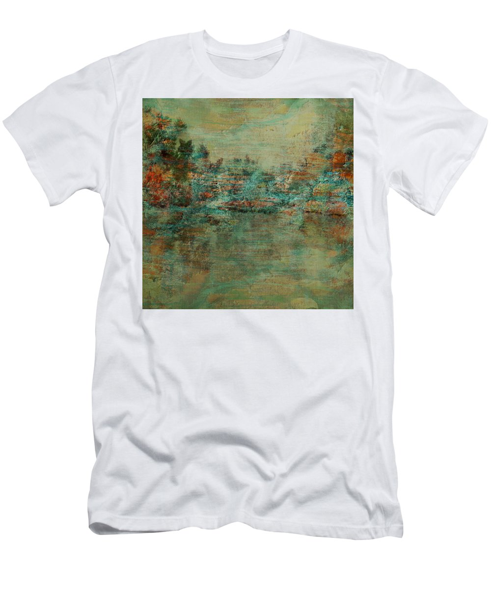 Abstract Men's T-Shirt (Athletic Fit) featuring the digital art Waters Edge by Aurora Art