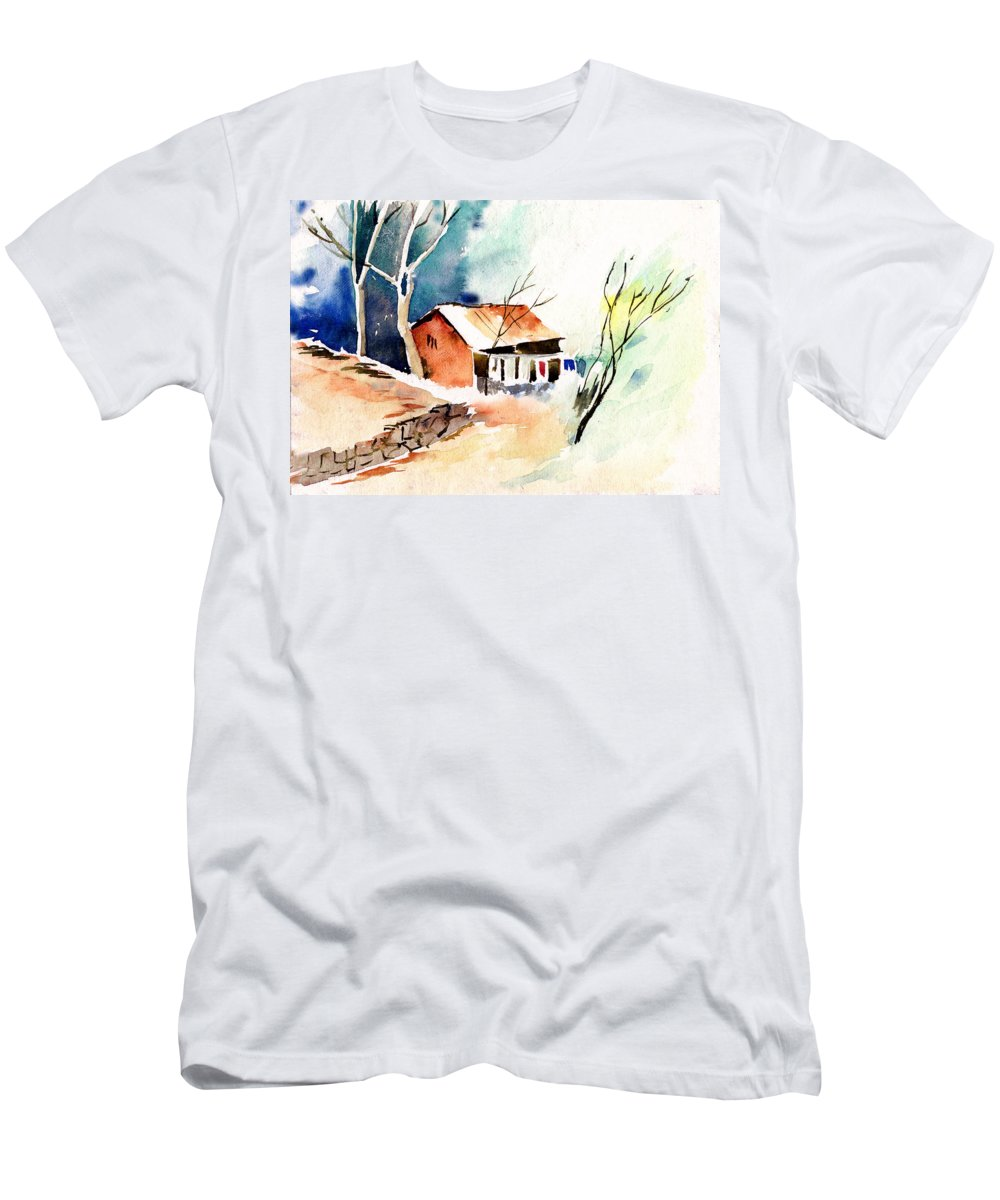 Nature Men's T-Shirt (Athletic Fit) featuring the painting Weekend House by Anil Nene