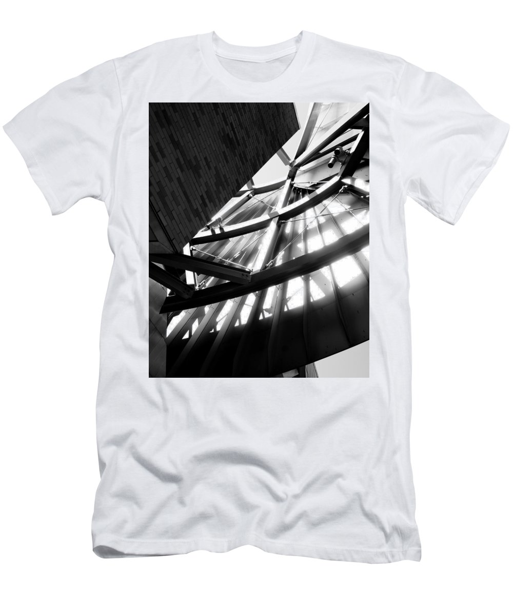 Weisman Architecture Structure Light Shadow Contrast Minnesota Minneapolis Gehry Men's T-Shirt (Athletic Fit) featuring the photograph Weisman's Skeleton by Pete Mikelson