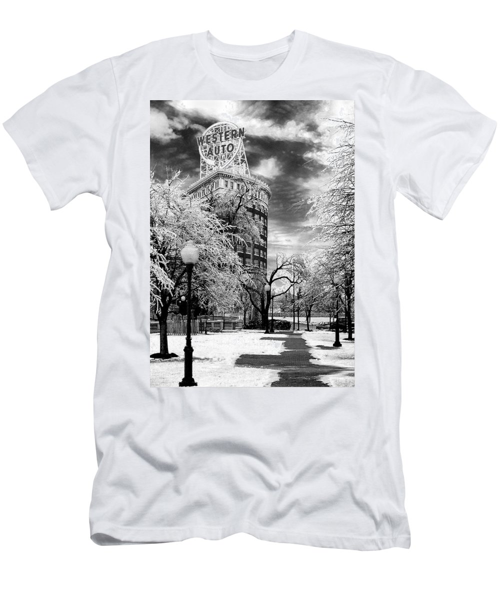 Western Auto Kansas City Men's T-Shirt (Athletic Fit) featuring the photograph Western Auto In Winter by Steve Karol