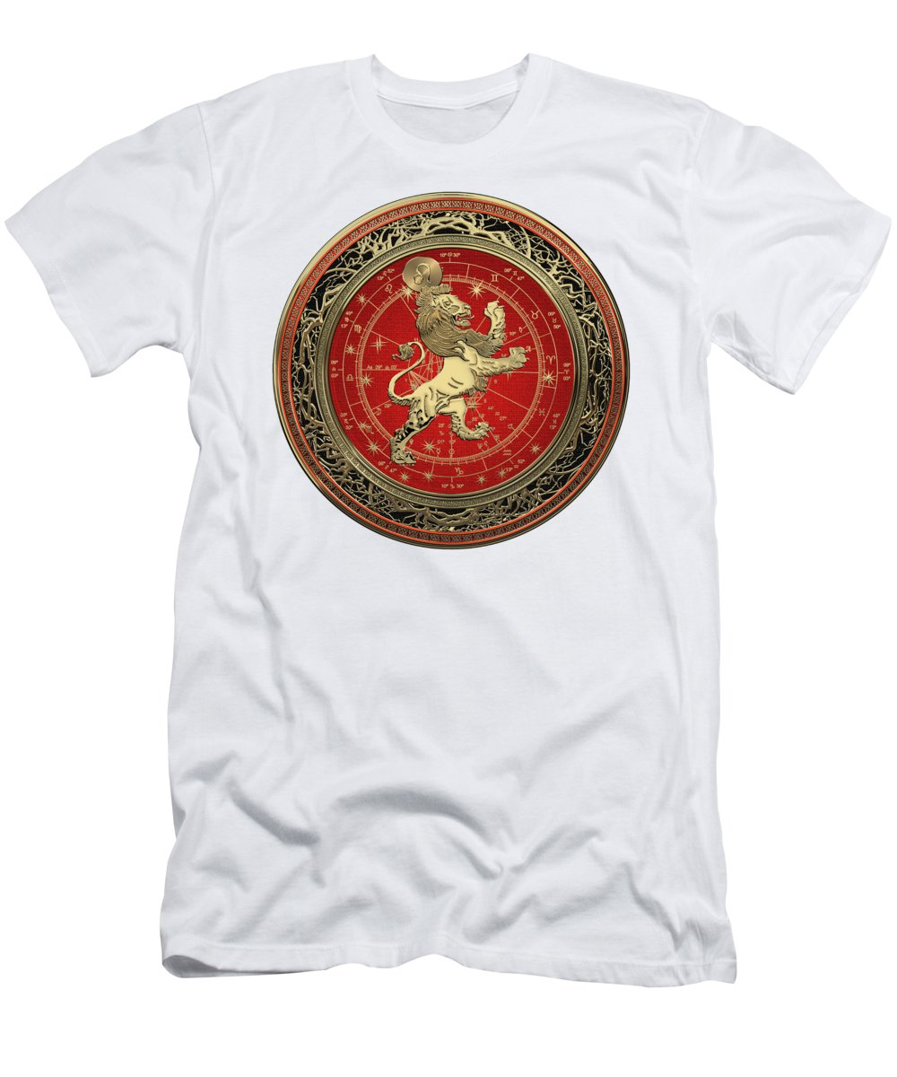 'zodiac' Collection By Serge Averbukh T-Shirt featuring the digital art Western Zodiac - Golden Leo - The Lion On White Leather by Serge Averbukh