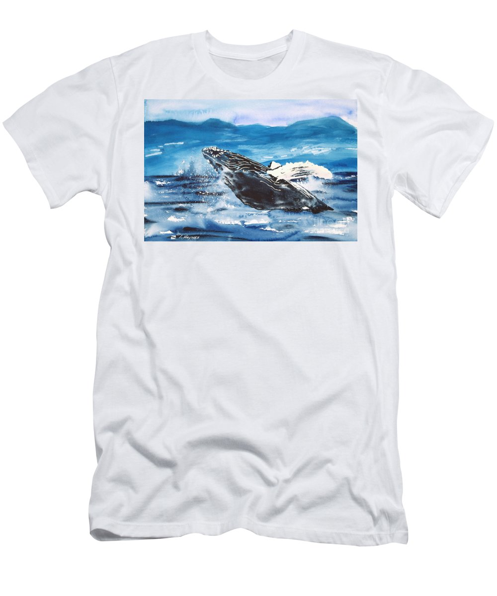 A6-csm0320 Men's T-Shirt (Athletic Fit) featuring the painting Whale Breaching by Tanya L Haynes - Printscapes