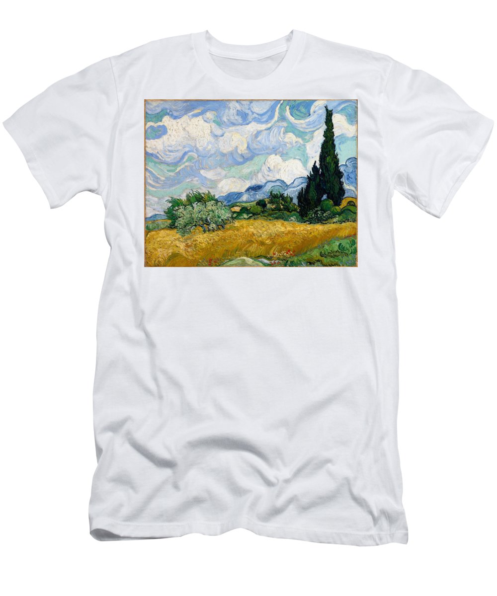 Vincent Van Gogh T-Shirt featuring the painting Wheatfield With Cypresses by Van Gogh