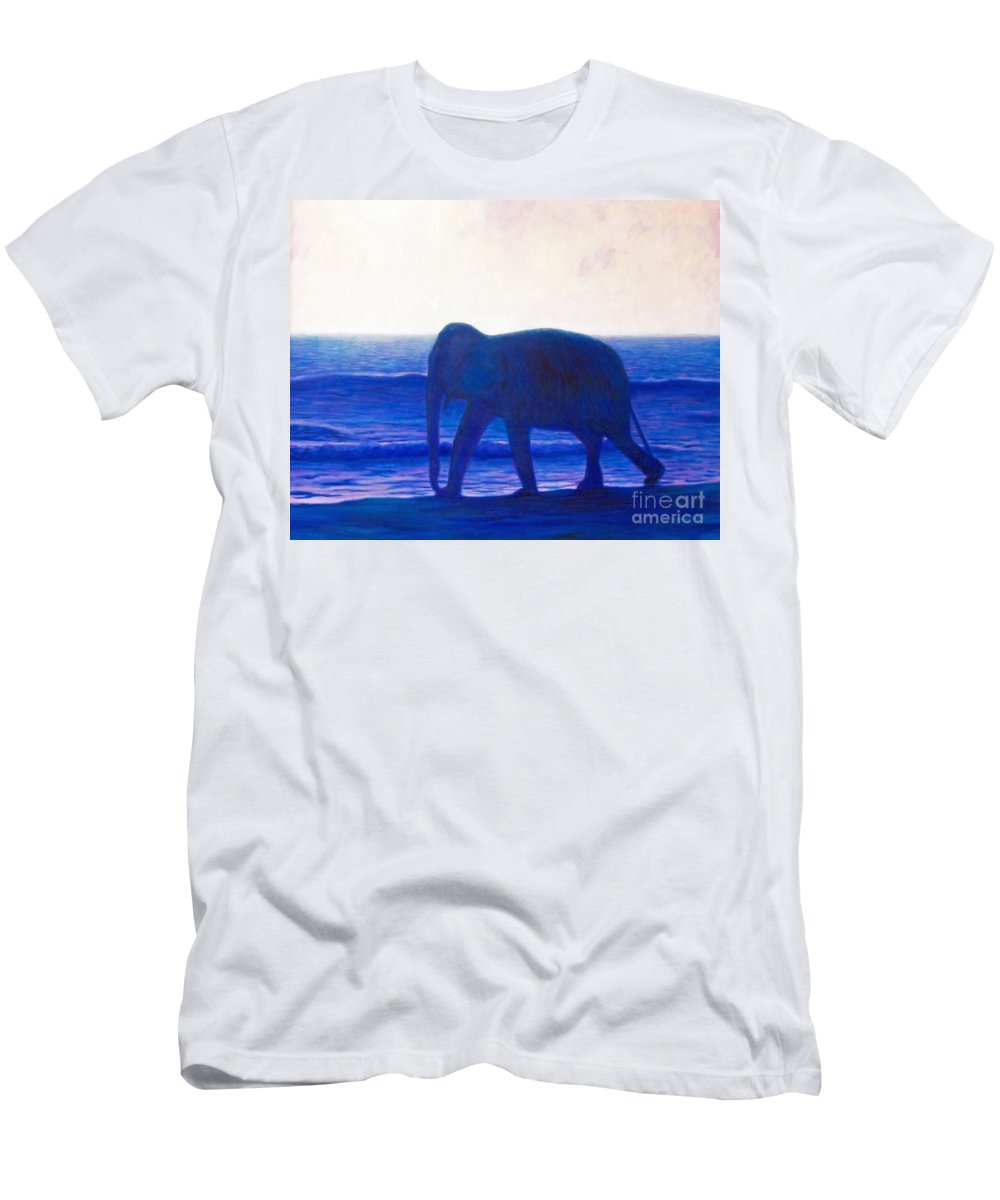 Elephant Men's T-Shirt (Athletic Fit) featuring the painting When I Was Young by Brian Commerford