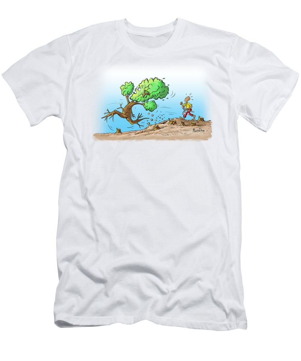 Tree Men's T-Shirt (Athletic Fit) featuring the painting When The Going Gets Tough by Anthony Mwangi
