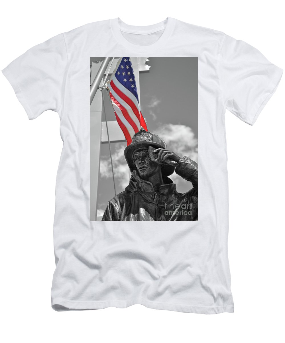 New York Men's T-Shirt (Athletic Fit) featuring the photograph When They Fell They Stood by Eve Forrest