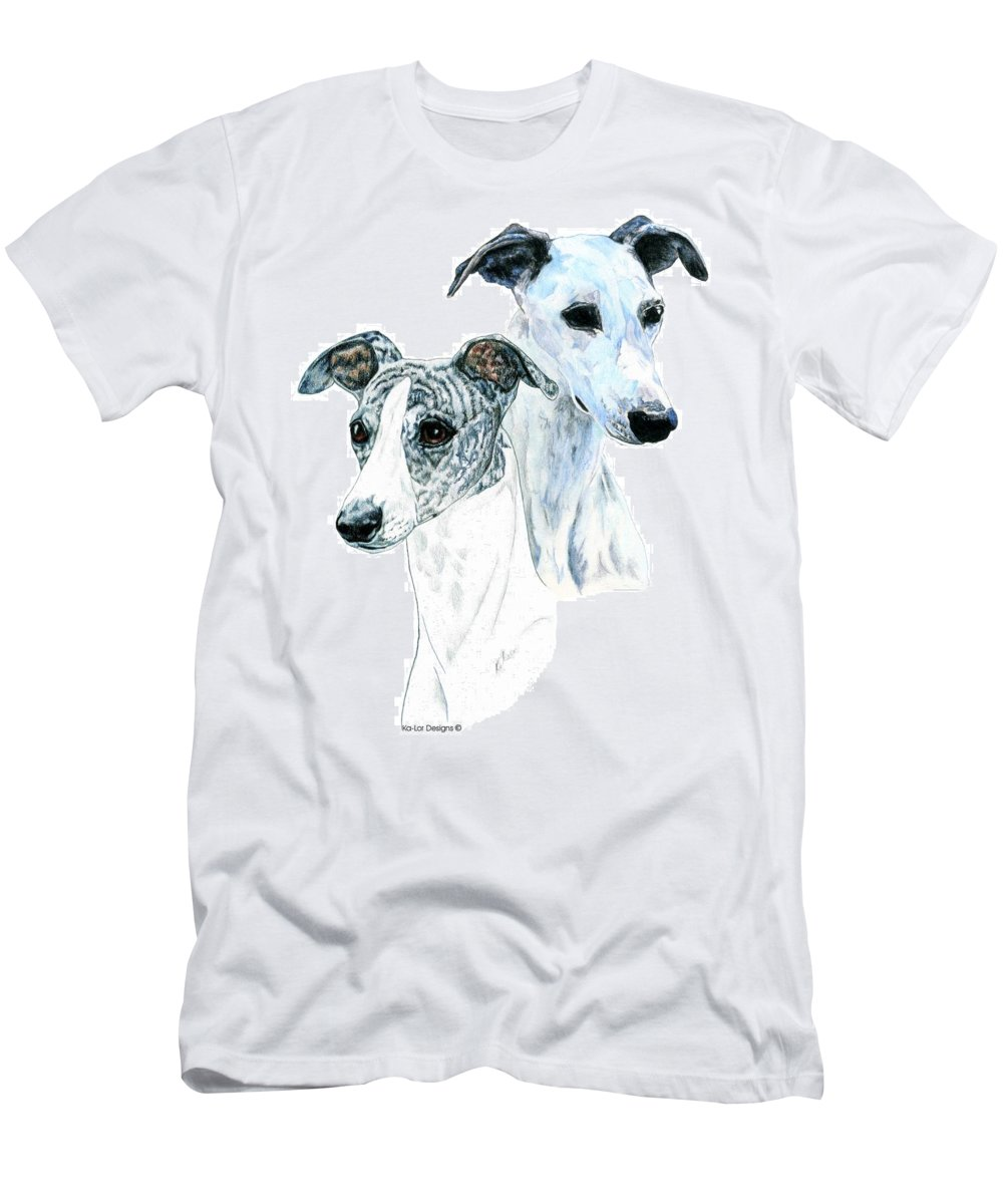 Whippet Men's T-Shirt (Athletic Fit) featuring the painting Whippet Pair by Kathleen Sepulveda