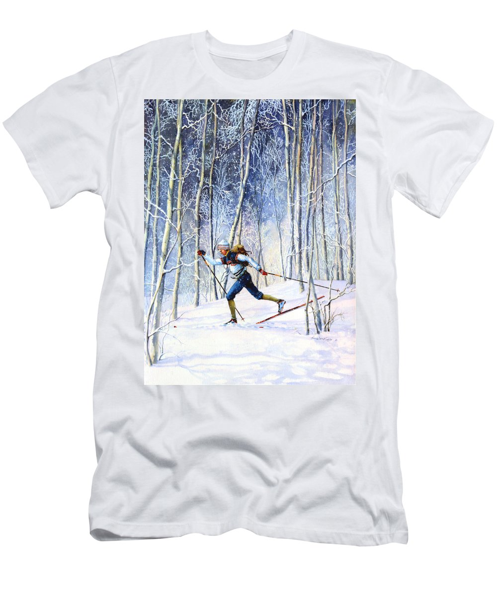 Sports Artist Men's T-Shirt (Athletic Fit) featuring the painting Whispering Tracks by Hanne Lore Koehler