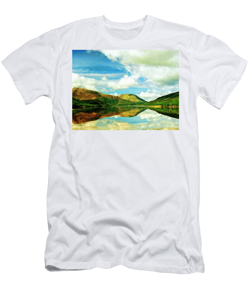 Lake Men's T-Shirt (Athletic Fit) featuring the painting Whispers by Dominic Piperata