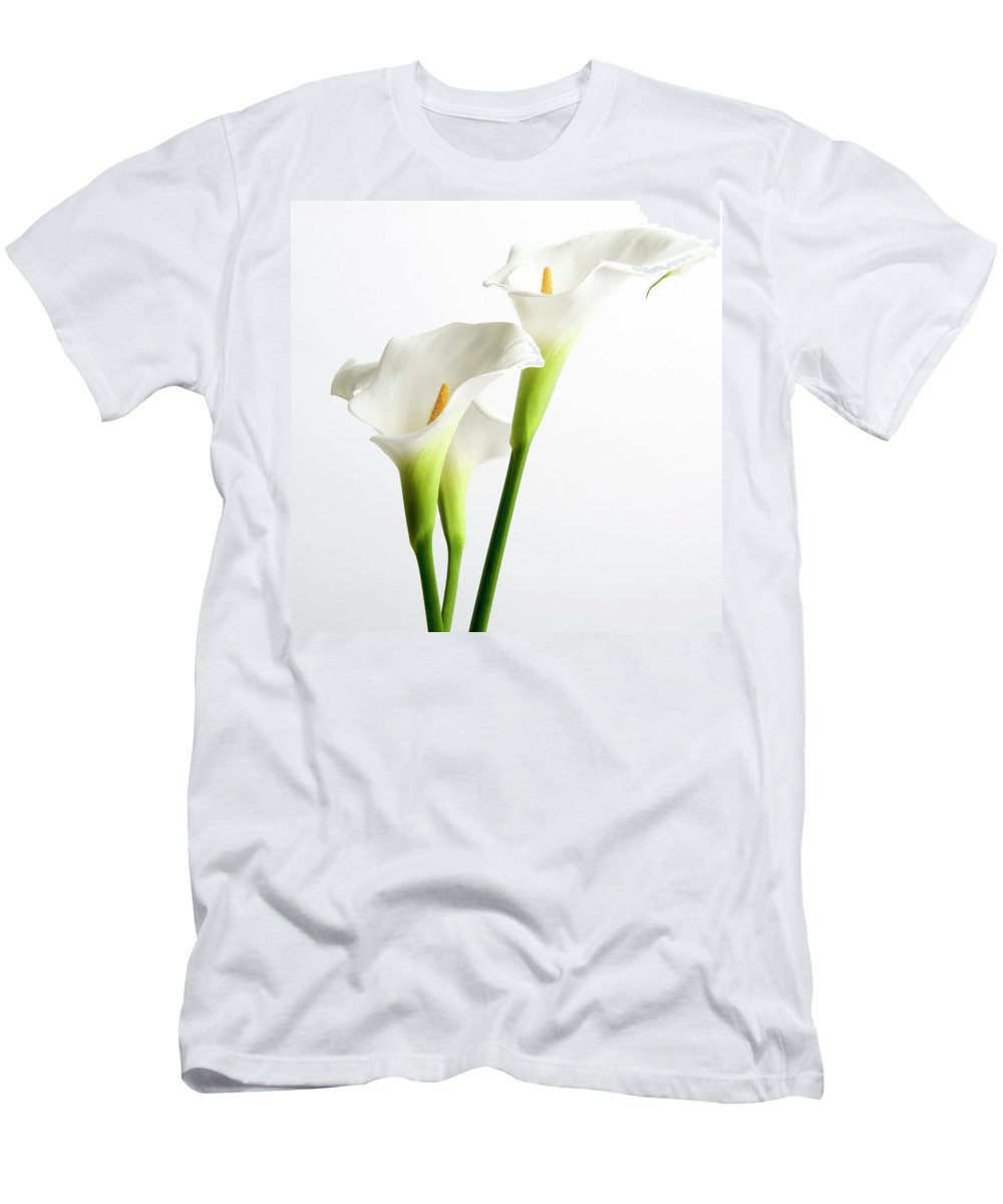 Araceae Men's T-Shirt (Athletic Fit) featuring the photograph White Arums by Bernard Jaubert