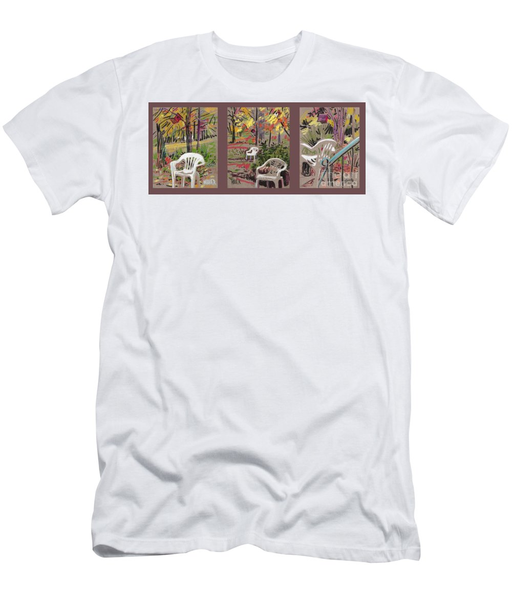 Pastel Men's T-Shirt (Athletic Fit) featuring the drawing White Chairs And Birdhouses 1 by Donald Maier