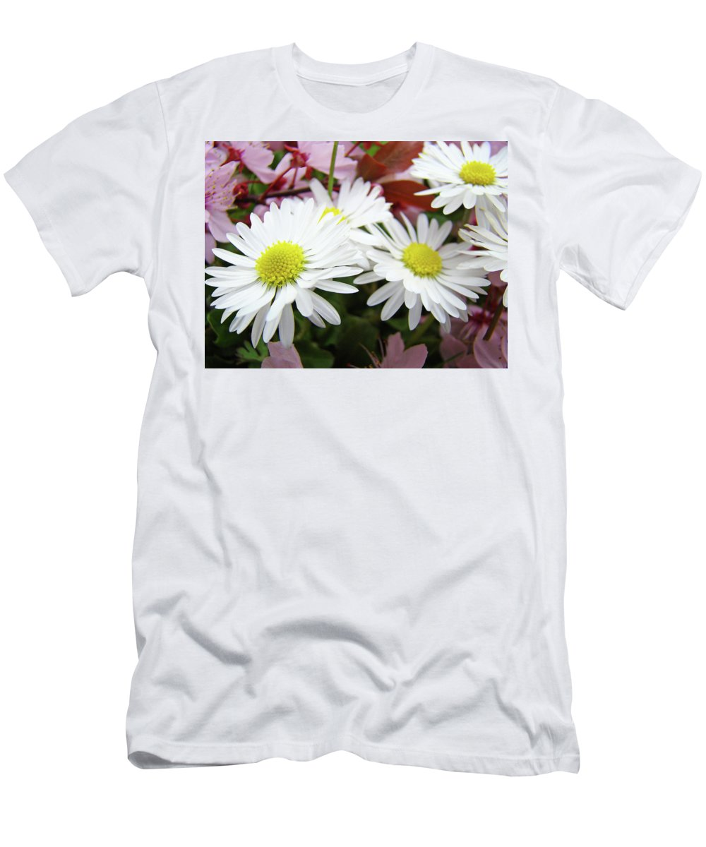 Nature Men's T-Shirt (Athletic Fit) featuring the photograph White Daisy Floral Art Print Canvas Pink Blossom Baslee Troutman by Baslee Troutman