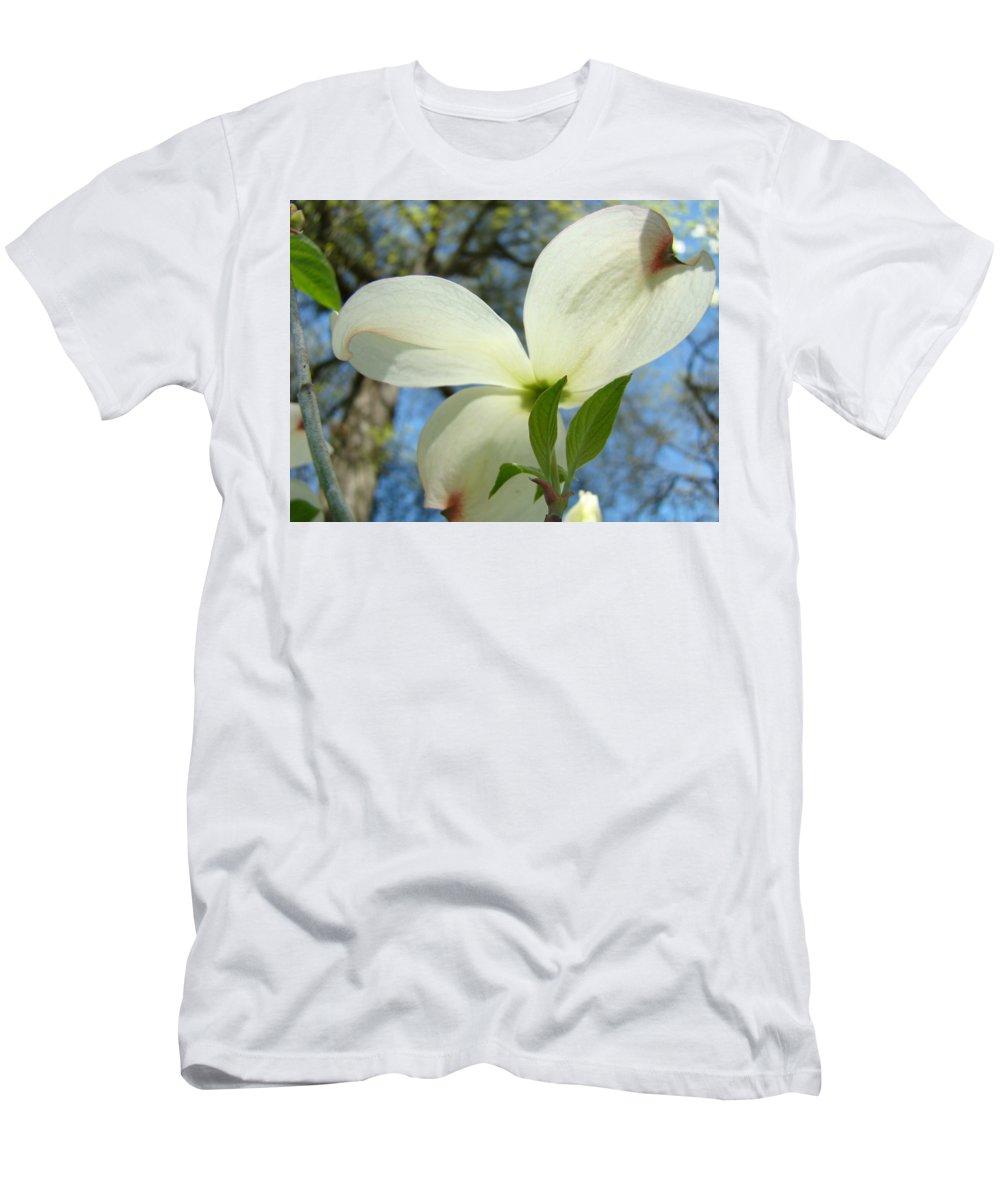 Giclee Art Print T-Shirt featuring the photograph WHITE DOGWOOD FLOWER Art Prints Blue Sky Baslee Troutman by Patti Baslee