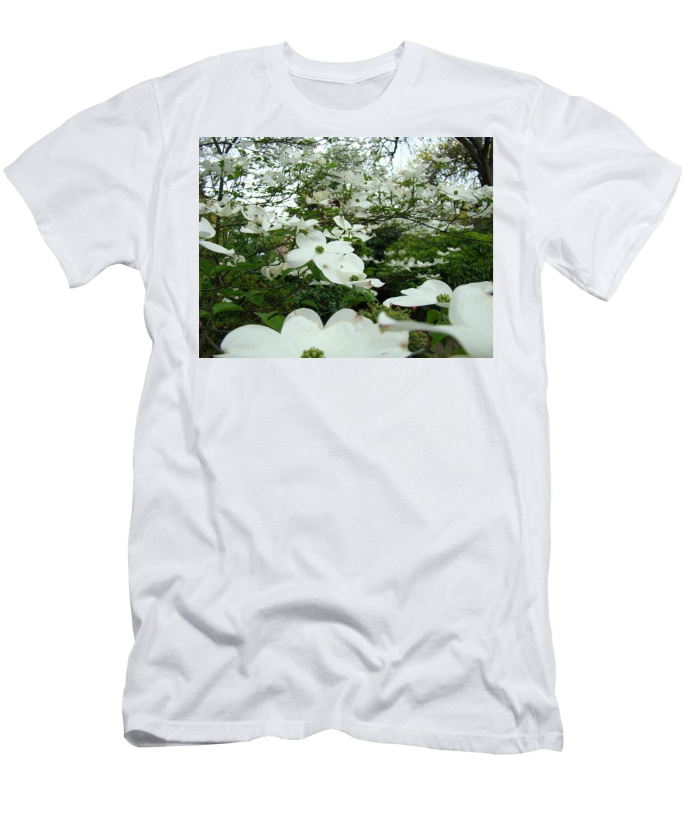 Dogwood Men's T-Shirt (Athletic Fit) featuring the photograph White Dogwood Flowers 6 Dogwood Tree Flowers Art Prints Baslee Troutman by Baslee Troutman