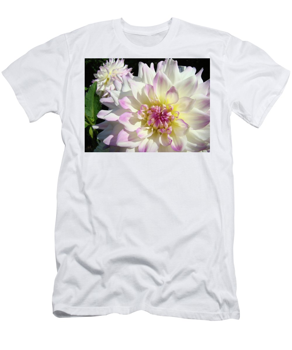 Flowers Men's T-Shirt (Athletic Fit) featuring the photograph White Floral Art Bright Dahlia Flowers Baslee Troutman by Baslee Troutman