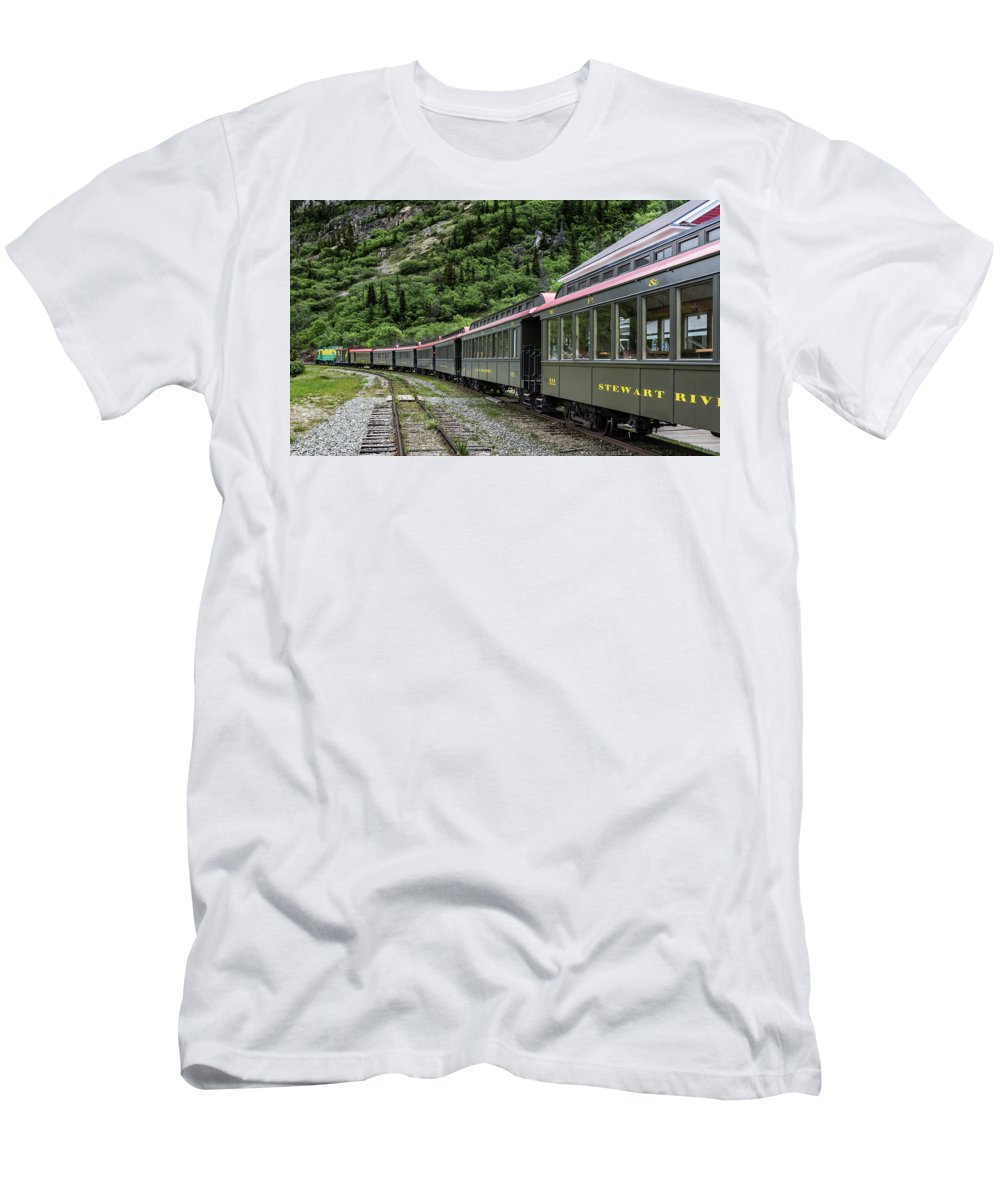 Train Men's T-Shirt (Athletic Fit) featuring the photograph White Pass And Yukon Railway by Ed Clark