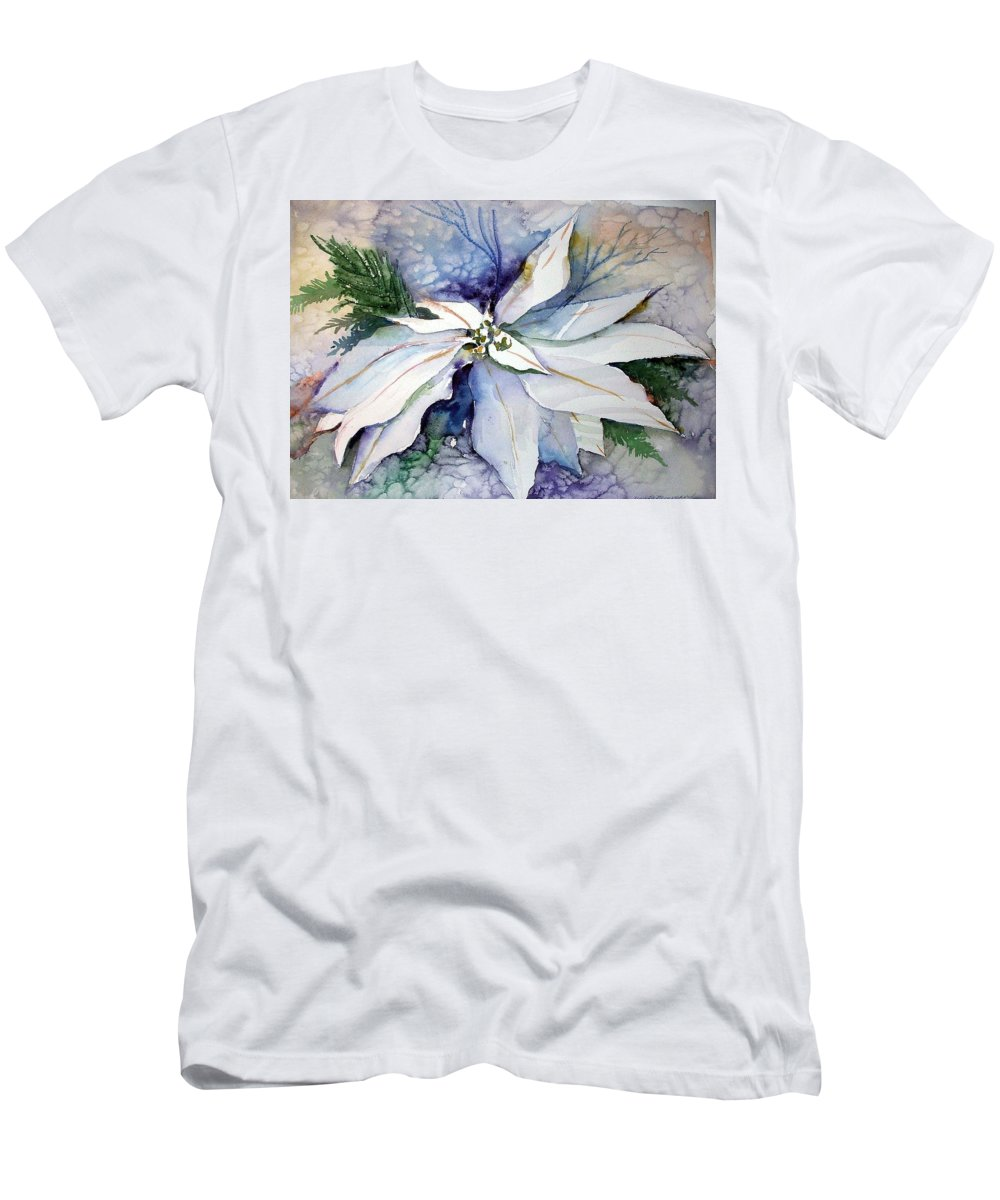 Floral Men's T-Shirt (Athletic Fit) featuring the painting White Poinsettia by Mindy Newman