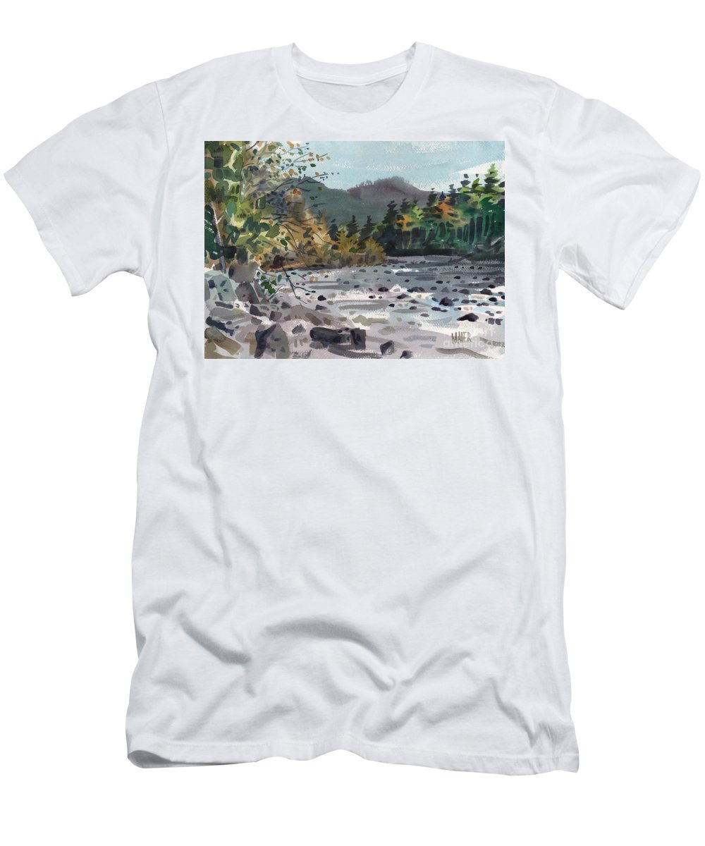 White River Men's T-Shirt (Athletic Fit) featuring the painting White River In Autumn by Donald Maier