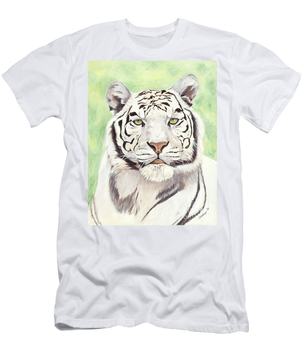 Tiger Men's T-Shirt (Athletic Fit) featuring the painting White Silence by Shawn Stallings