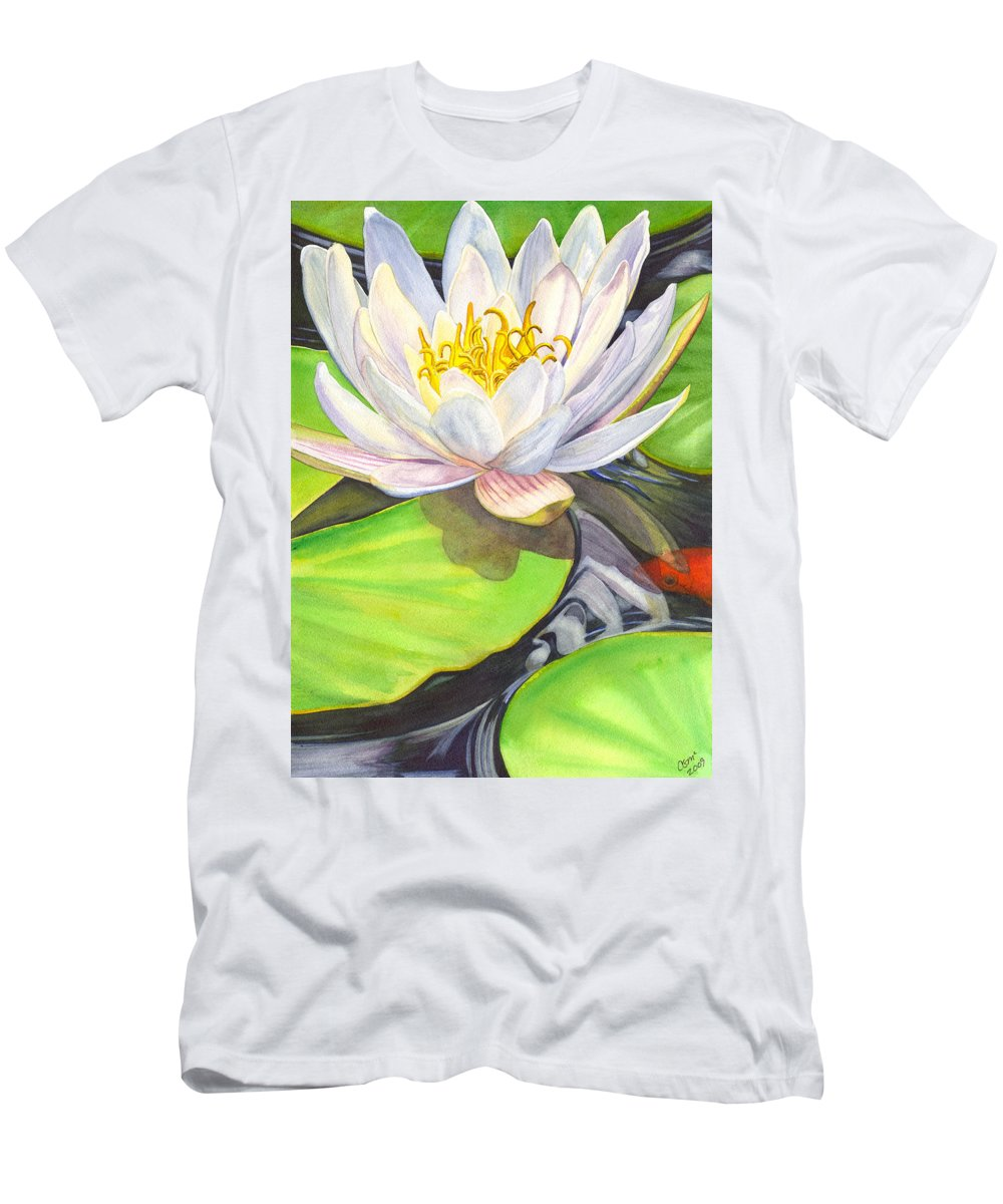 Lily Men's T-Shirt (Athletic Fit) featuring the painting White Water Lily by Catherine G McElroy