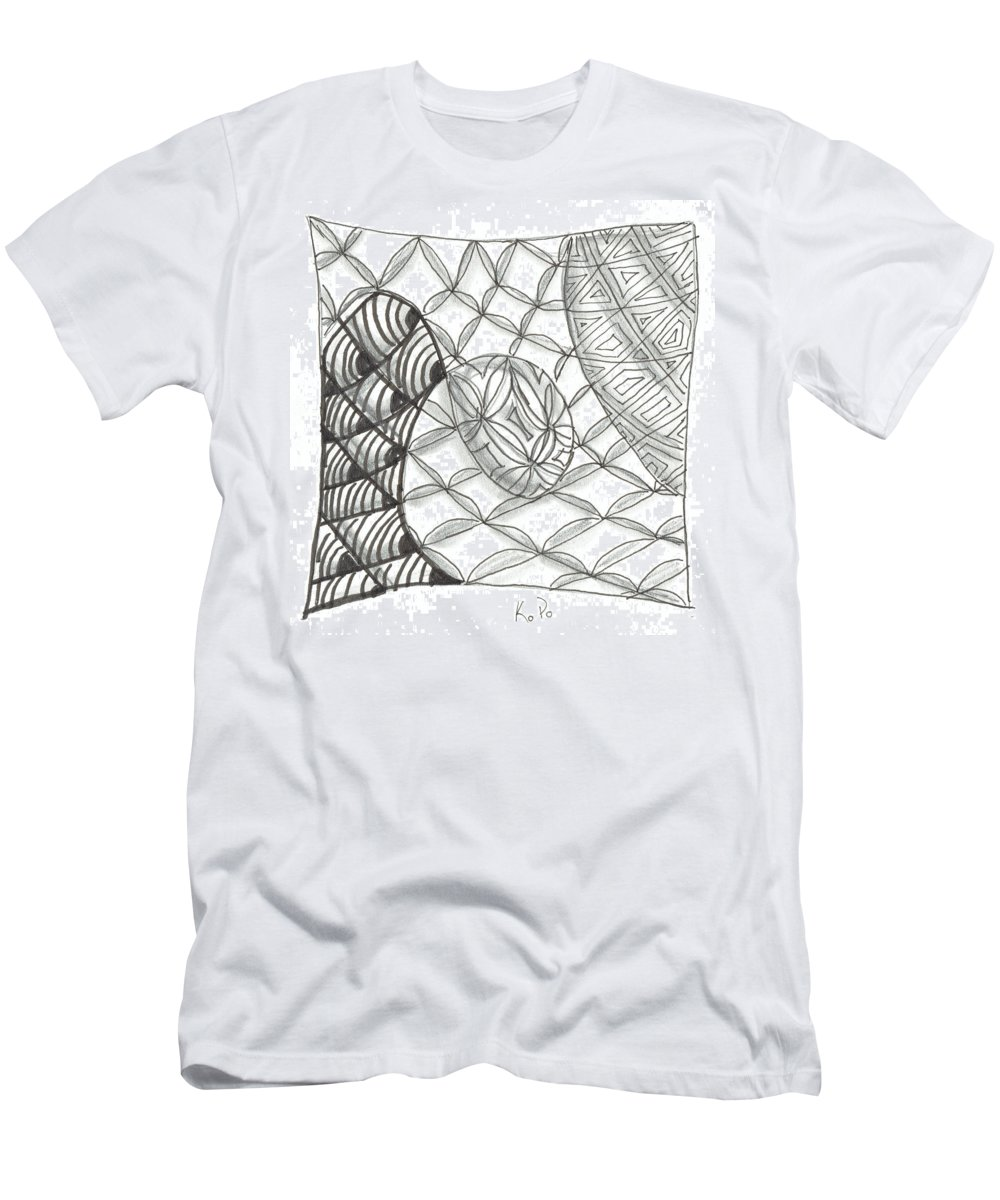 Zentangle Men's T-Shirt (Athletic Fit) featuring the mixed media White Zen 14 by Kitty Perkins