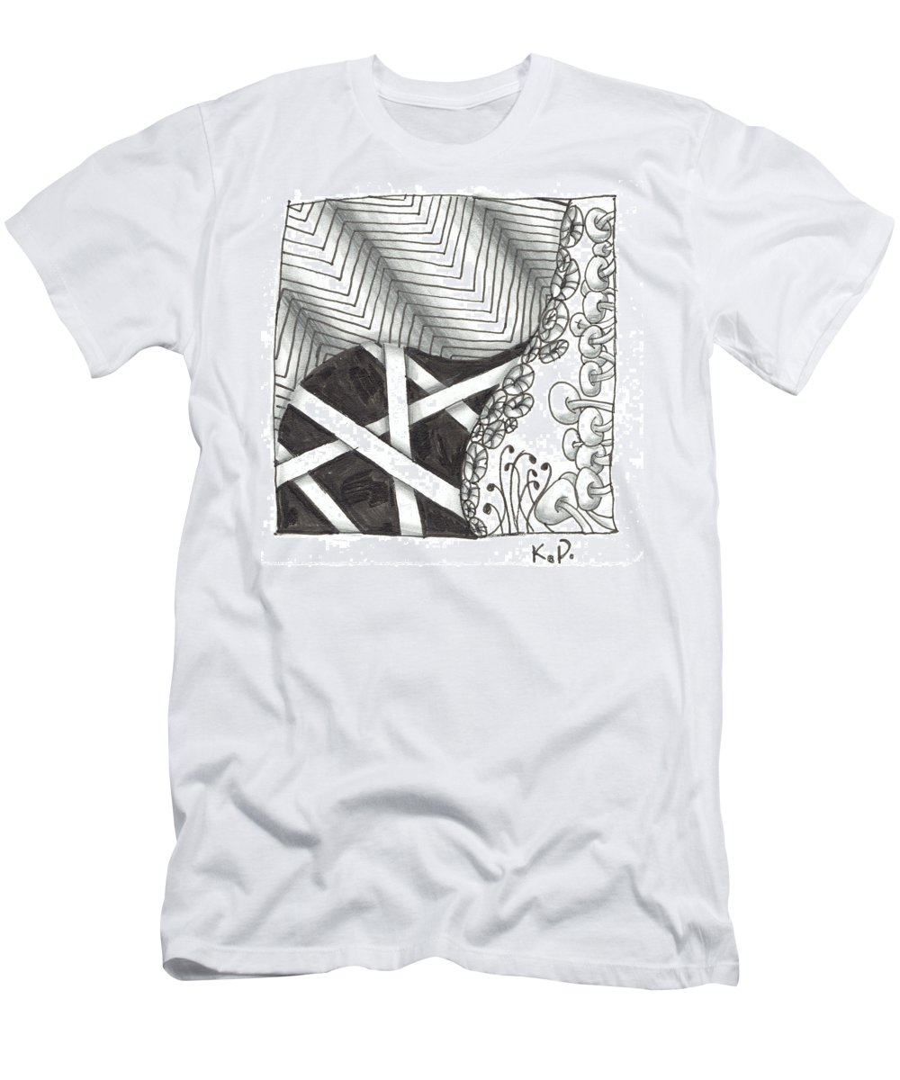 Zentangle Men's T-Shirt (Athletic Fit) featuring the mixed media White Zen 21 by Kitty Perkins